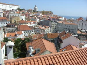 The red tile roofs of Lisbon
