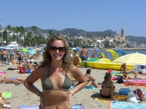On the beach in Sitges, Spain with 800 of my closest friends