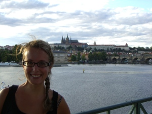 This is what happens when strangers take pictures for you. The Charles Bridge in the background, the looming dark figure in the foreground is me!